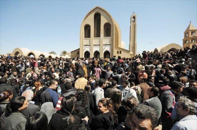 Funeral por el pope de los coptos egipcios, el 18 de marzo del 2012.