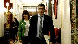 El presidente del Congreso, Patxi López, este miércoles a la entrada de la reunión de la Mesa de la Cámara baja.