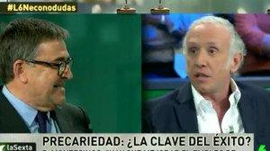El economista Juan Torres y Eduardo Inda (derecha), en La Sexta Noche, el pasado sábado.
