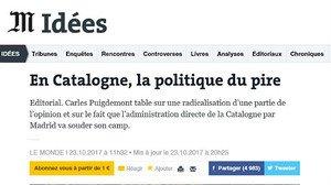 Captura del editorial de Le Monde sobre Catalunya de este 23 de octubre.