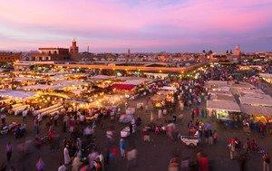 Vista aérea del mercado de Marrakech, en Marruecos.