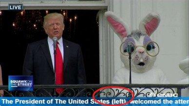 El error en el rótulo de Trump y el conejo de Pascua, un bulo de Twitter