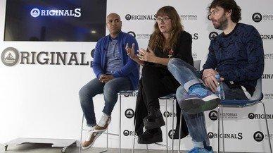 De izquierda a derecha, Santiago Zannou, Isabel Coixet y Daniel S�nchez-Ar�valo, en la presentaci�n de sus cortos en Paramount Channel.