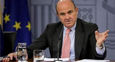 Luis de Guindos, durante la rueda de prensa posterior al Consejo de Ministros.