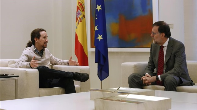 Pablo Iglesias y Mariano Rajoy, durante una reunión en la Moncloa.