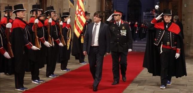 Carles Puigdemont, en el acto de toma de posesión en el Palau de la Generalitat.