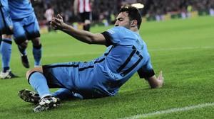 Munir celebra el 0-1 en Bilbao.