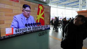 El líder norcoreano, Kim Jong-un, durante el discurso de bienvenida del 2018.