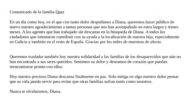 Padres de Diana Quer: Hoy nuestra preciosa Diana descansa finalmente en paz