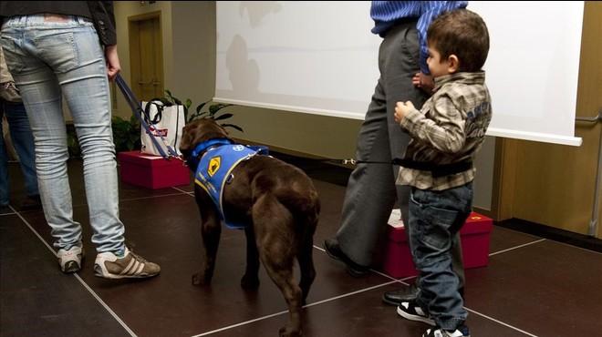 Un ni�o autista con su perro de asistencia.