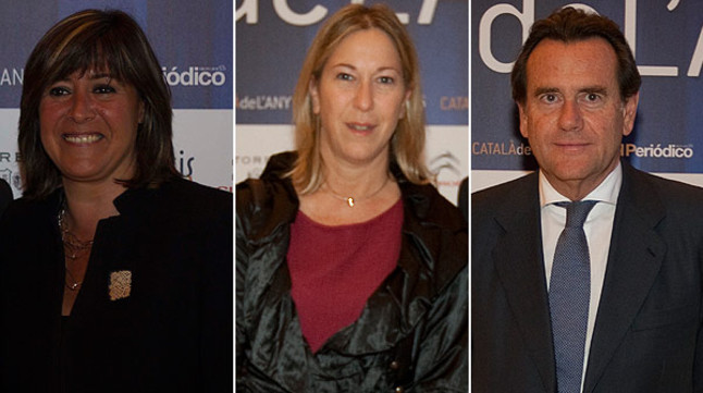 De izquierda a derecha, la alcaldesa de L'Hospitalet Núria Marín, la 'consellera' de Benestar Neus Munté y el presidente del Puerto de Barcelona, Sixte Cambra.