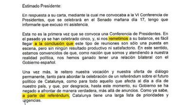 Las faltas de ortografía de la carta de Puigdemont a Rajoy