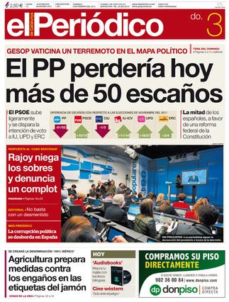 """""""El PP perdería hoy más de 50 escaños"""", en la portada de EL PERIÓDICO DE CATALUNYA"""