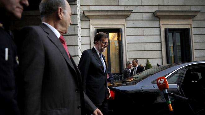 Rajoy a la salida del Congreso.