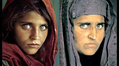 Sharbat Gula, en la icónica portada de 'National Geographic' (izquierda), y en una imagen reciente.