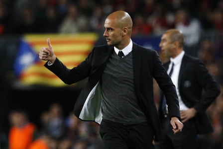 Guardiola, durante el Bar�a-Chelsea.