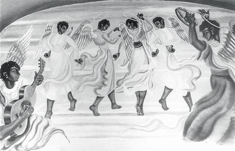Ángeles negros bailan al ritmo de una guitarra y una pandereta, instrumentos típicamente gitanos, en el frontal de la puerta de la 'Capilla gitana'.