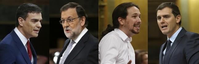 Combo Sánchez, Rajoy, Iglesias y Rivera