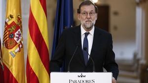 El presidente del Gobierno, Mariano Rajoy, en Lleida, este jueves, 20 de julio.