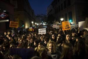 Marcha contra la violencia machista, ayer, en Madrid.
