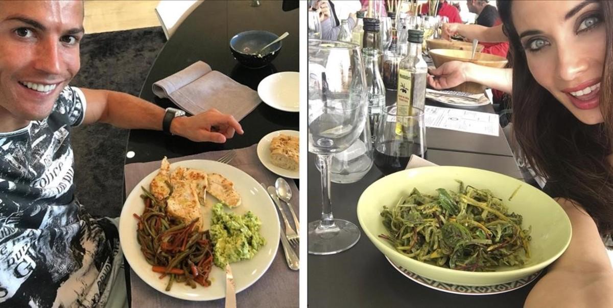 Cristiano Ronaldo y Pilar Rubio exhibiendo delicias culinarias en Instagram.