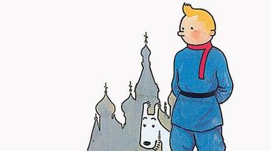 Fragmento de la portada de 'Tint�n en el pa�s de los soviets'.