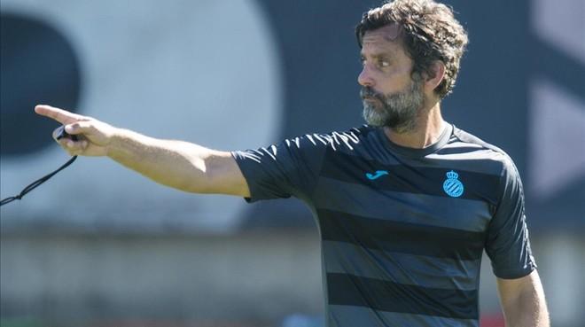 Quique S�nchez Flores, en un reciente entrenamiento del Espanyol.