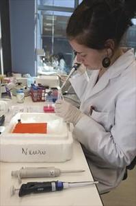 Una treballadora al laboratori d'Oryzon Genomics.