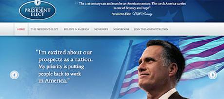 Imagen de la web que los republicanos colgaron por error y en la que Romney aparecía como vencedor de las elecciones de EEUU.