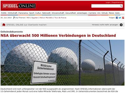 La portada de la web de 'Der Spiegel' sobre l'espionatge dels EUA a Alemanya.