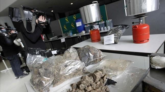 Cocaína negra intervenida por la Guardia Civil en Torrelles de Foix.