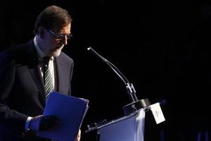 El presidente del Gobierno, Mariano Rajoy, en un acto este miércoles en Madrid sobre la marca España