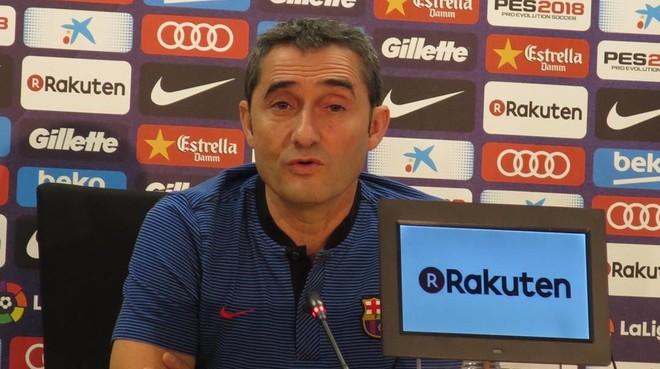 Ernesto Valverde, en la conferencia de prensa de hoy en la Ciudad Deportiva Joan Gamper.