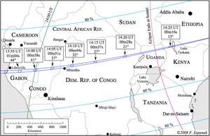 Eclipse total de Sol el 3 de noviembre desde África Ecuatorial.