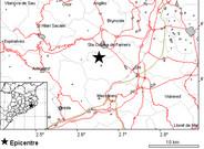 Mapa del epicentro del terremoto, situado en la localidad de Riudarenes.