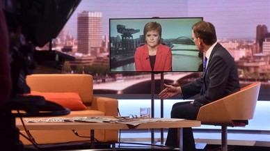 Nicola Sturgeon, en conexi�n televisiva con el 'show' de Andrew Marr en la BBC, este domingo.