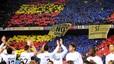 Reivindicaciones políticas. Pancartas a favor de la independencia en el Camp Nou. 29 de noviembre del 2009.