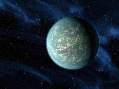 Recreación artística de un exoplaneta en el sistema Kepler-22, a unos 600 años luz.