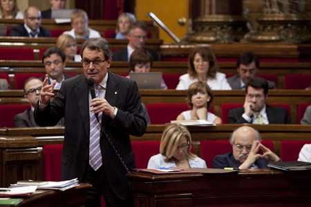 Artur Mas durante la sesin de control del Govern en su discurso sobre los recortes