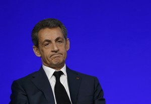 File photo of Nicolas Sarkozy, head of Frances Les Republicains political party and former French President, speaks on the second day of his partys national council in Paris