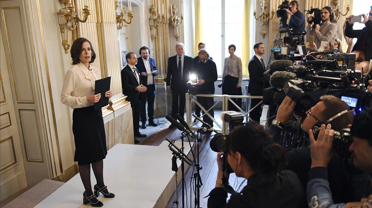 Sara Danius, secretaria permanente de la Academia Sueca, el año pasado durante el anuncio del Nobel de LIteratura para Bob Dylan.