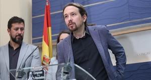 Pablo Iglesias, durante una rueda de prensa.