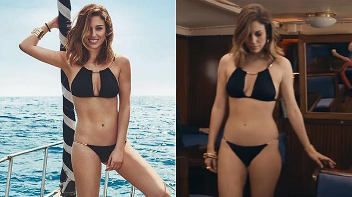 Blanca Su�rez, a la izquierda, en la imagen promocional de Women'Secret, y en un frame del v�deo publicitario.