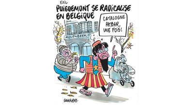 Puigdemont, caricaturitzat com un gihadista a 'Charlie Hebdo'