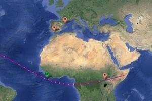 Las ciudades de Barcelona, Cádiz y Gulu en el mapa del camino del eclipse.