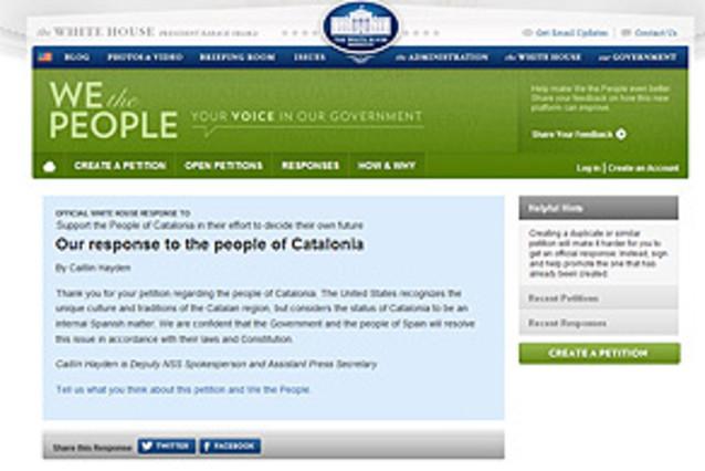 La Casa Blanca declina apoyar el referendo de autodeterminaci�n de Catalunya
