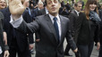 Sarkozy, esta maana, tras votar, en Pars.