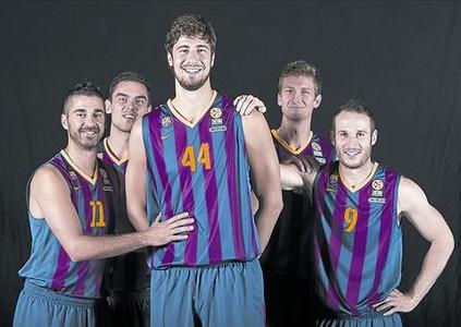 Navarro, Satoransky, Tomic, Doellman y Huertas, en la sesi�n de fotos del equipo.