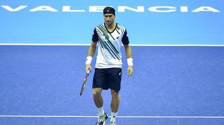 Ferrer, durante el partido de semifinales del torneo de Valencia contra Murray.