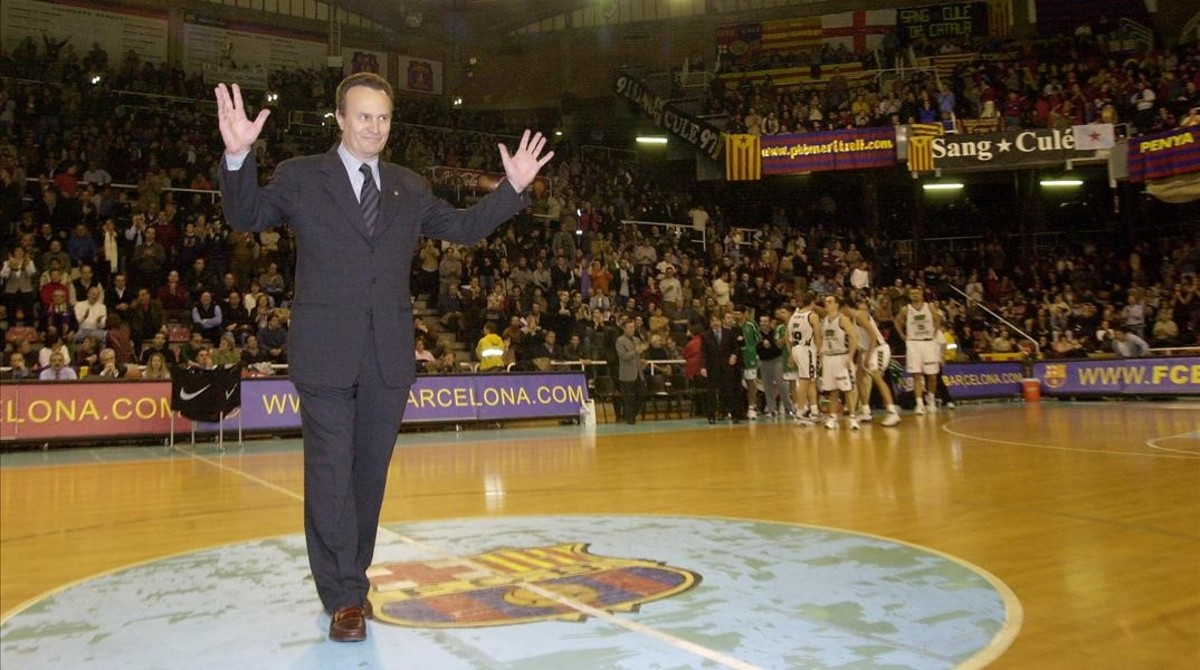 Homenaje en el Palau Blaugrana, en el 2002